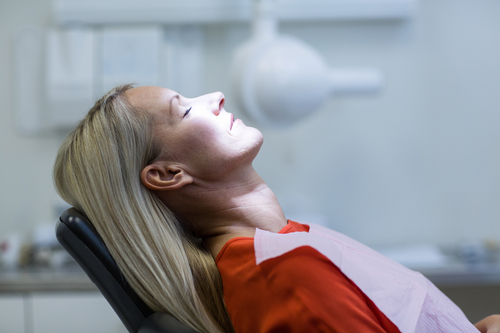 Woman having relaxation dentistry